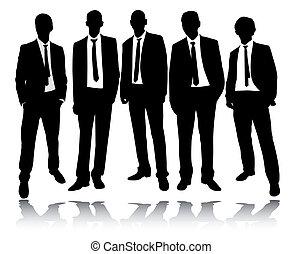 álló, csoport, businessmen