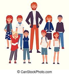 álló, csoport, diákok, ábra, vektor, mosolygós, hím tanár