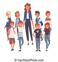 álló, csoport, diákok, ábra, vektor, női, mosolygós, tanár