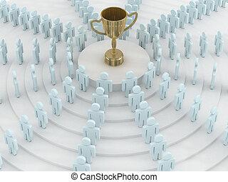 álló, csoport, image., cup., emberek, kerek, 3