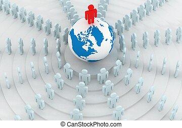 álló, csoport, image., emberek, 3, kerek, globe.