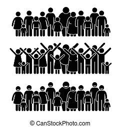 álló, csoport, közösség, emberek