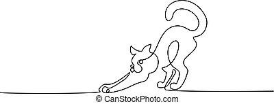 álló, drawing., egy, farok, egyenes, macska, göndörített