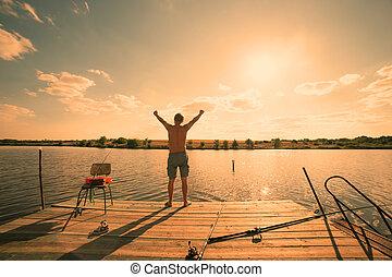álló, fény, ég, tó, háttér, meleg, napnyugta, ember, móló, boldog
