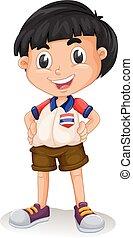 álló, fiú, thai ember, boldog
