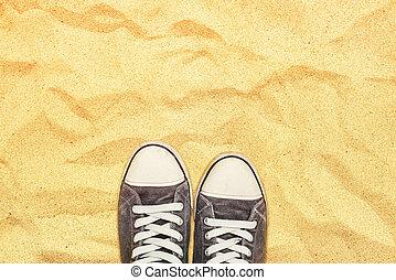 álló, háború, lábak, homok, gumitalpú cipő, dezertál