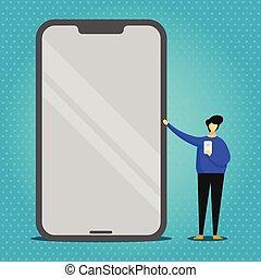 álló, hatalmas, óriási, smartphone, birtok, hegyezés, cellphone, mozgatható, kezezés., visszaverődés, hatás, gadget., személy, kapzsi, átnyújtás, másik, tiszta, fényes, ellenző, ember