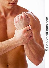 álló, közelkép, övé, fáj, fiatal, erős, időz, megható, csukló, ellen, háttér, fehér, wrist., ember
