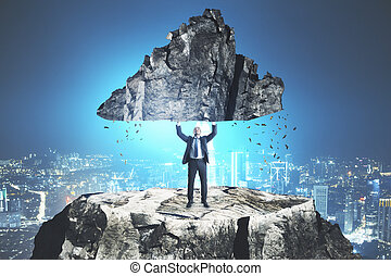 álló, kő, hegy bábu, birtok