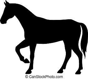 álló, ló, árnykép, elszigetelt, lejtő, háttér., fekete, nézet., fehér