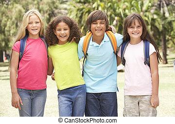 álló, liget, csoport, iskolások
