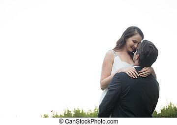 álló, liget, ellen, időz, menyasszony, vőlegény, világos, emelés, ég