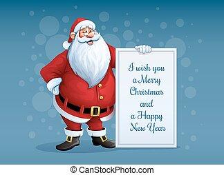álló, mikulás, karácsony, köszöntések, vidám, transzparens, kar