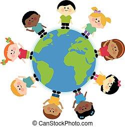 álló, multi-, gyerekek, csoport, mindenfelé, ábra, vektor, etnikai, earth.