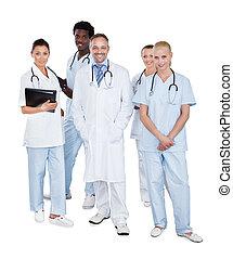 álló, multiethnic, orvosi, háttér, befog, fehér, felett