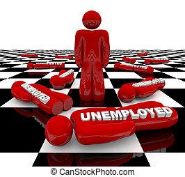 álló, -, munkanélküliség, eltart, ember