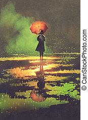 álló, nő, esernyő, tócsa, fog, titokzatos