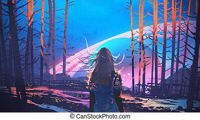 álló, nő, kitalált, erdő, háttér, egyedül