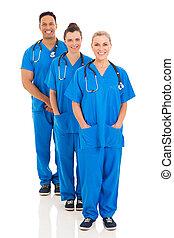 álló, orvosi, evez, csoport, befog
