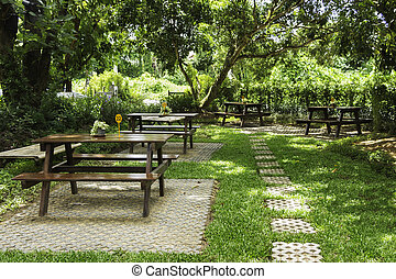 álló, pázsit, kert, elnökké választ, erdő, asztal
