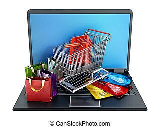 álló, pantalló, bevásárlás, laptop, hitel, computer., kordé, kártya