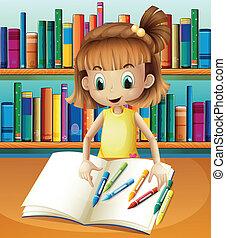 álló, pasztellkréták, neki, könyvespolcok, ábra, jegyzetfüzet, elülső, leány, üres