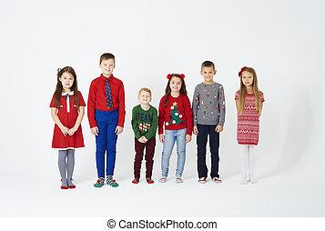 álló, portré, gyerekek, evez