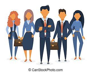 álló, suit., csoport, ügy sportcsapat