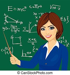 álló, tábla, fiatal, következő, tanár, matek