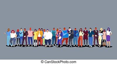 álló, tele, csoport, tolong, emberek, nagy, férfiak, businesspeople, együtt, hosszúság, különböző, horizontális, nők