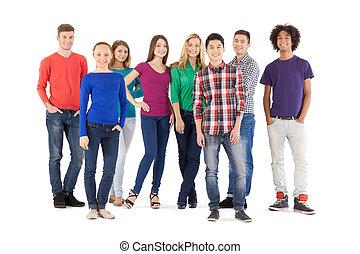 álló, tele, emberek, emberek., elszigetelt, fiatal, jókedvű, időz, fényképezőgép, kényelmes, hosszúság, fehér, mosolygós