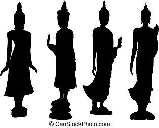 álló, thai ember, buddha.