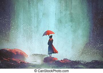 álló, vízesés, nő, esernyő, ellen
