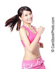 állóképesség, mosolygós, sport, futás, nő