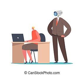 áll, fej, video, adminisztrátor, ellenőrzés, főnök, egyesített, csípőre tett-, betű, fényképezőgép, fegyver, női, mögött, vagy, concept., menedzser