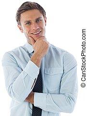 áll, gondolkodó, kéz, üzletember
