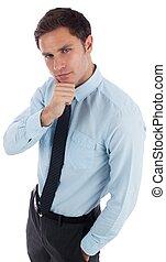 áll, kéz, figyelmes, üzletember