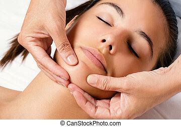 áll, kozmetikai, női, massage.