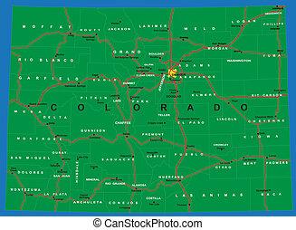 állam, colorado, politikai, térkép