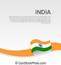 állam, lakás, vektor, hullámos, indiai, poster., fedő, szalag, hazafias, befest, design., nemzeti, india, háttér., transzparens, white lobogó