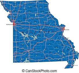 állam, politikai, missouri térkép