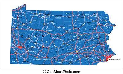 állam, politikai, pennsylvania térkép