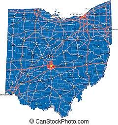 állam, politikai, térkép, ohio