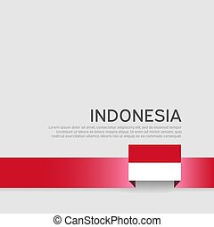 állam, vektor, fedő, poster., indonézia, szalag, hazafias, befest, design., nemzeti, háttér., transzparens, lakás, fehér, repülő, lobogó
