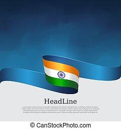 állam, vektor, kék, fedő, hullámos, indiai, poster., szalag, hazafias, befest, design., nemzeti, india, háttér., transzparens, fehér, repülő, lobogó