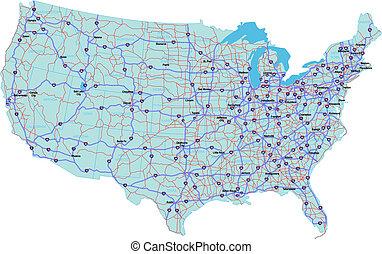 államközi, egyesült, térkép, egyesült államok