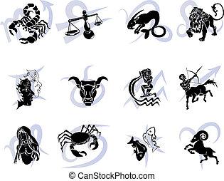 állatöv, horoszkóp, tizenkettő, cégtábla, csillag
