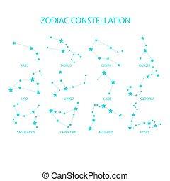 állatöv, vektor, állhatatos, constellations., freehand, signs.