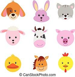 állat arc, ábra, karikatúra