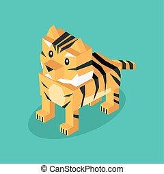 állat, elszigetelt, 3, tiger, isometric